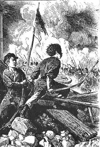 Revoluční boj v Berlíně v březnu 1848.