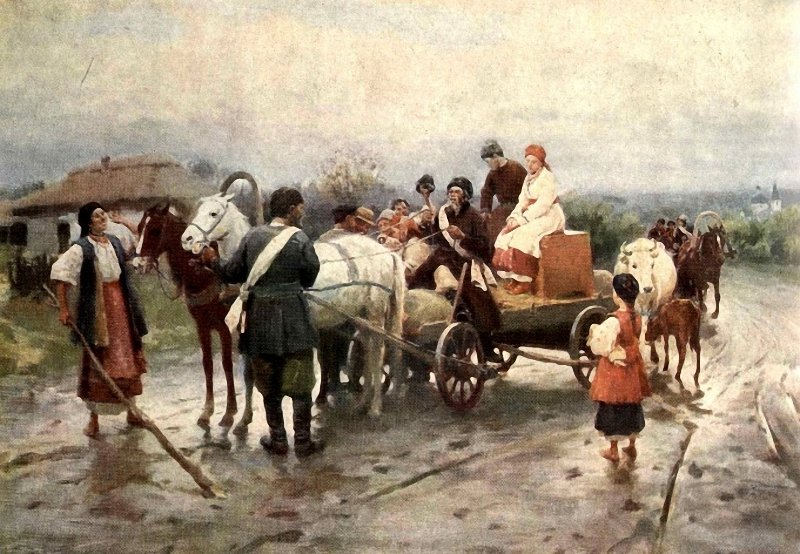 Mykola Pymonenko: Ukrajinská svatba (1908). Zdroj: Wikimedia Commons.