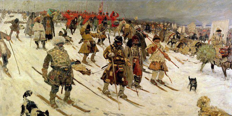 Sergej Ivanov: Pochod vojska Moskevské Rusi v 16. století (1903). Zdroj: Wikimedia Commons.