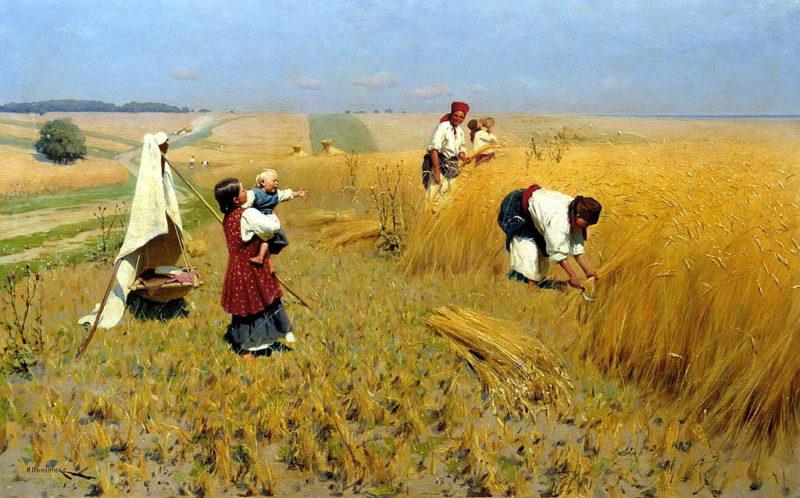 Mykola Pymonenko: Žně na Ukrajině (19. stol.). Zdroj: Wikimedia Commons.