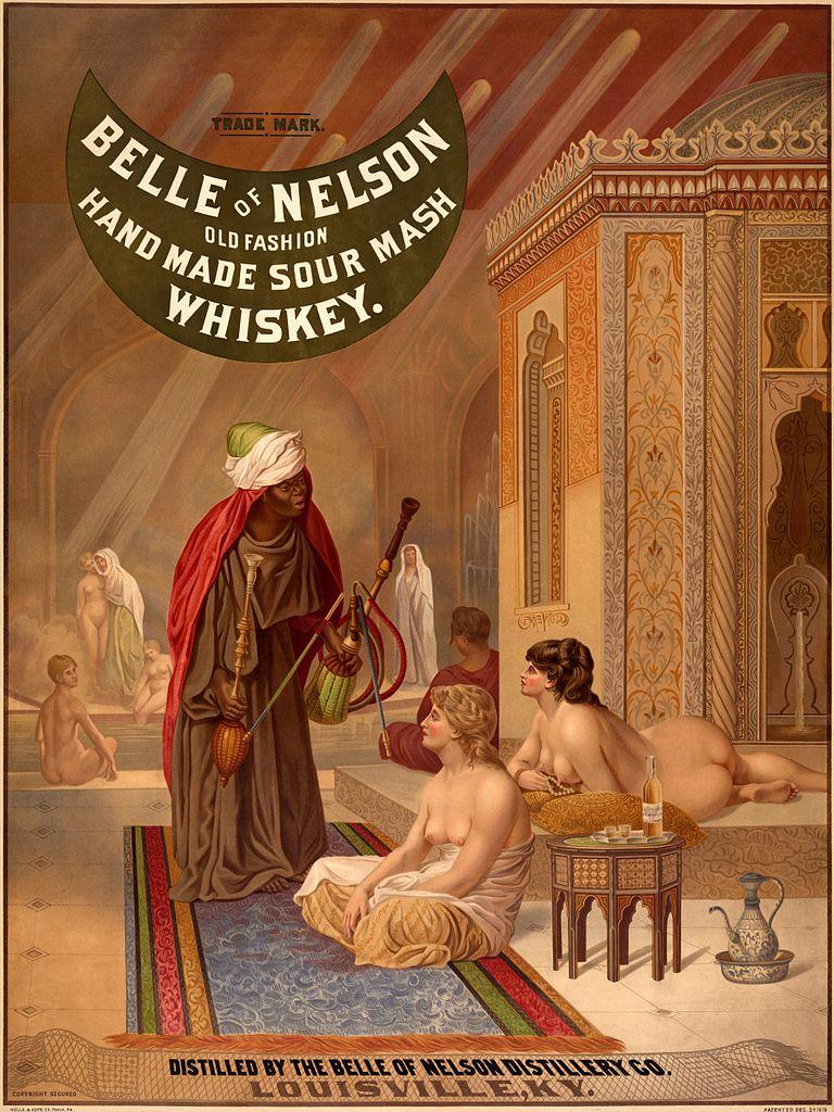 Reklama na whiskey, založená na obrazu Jeana-Léona Gérôma Bazén v harému, (1878). Zdroj: Wikimedia Commons.