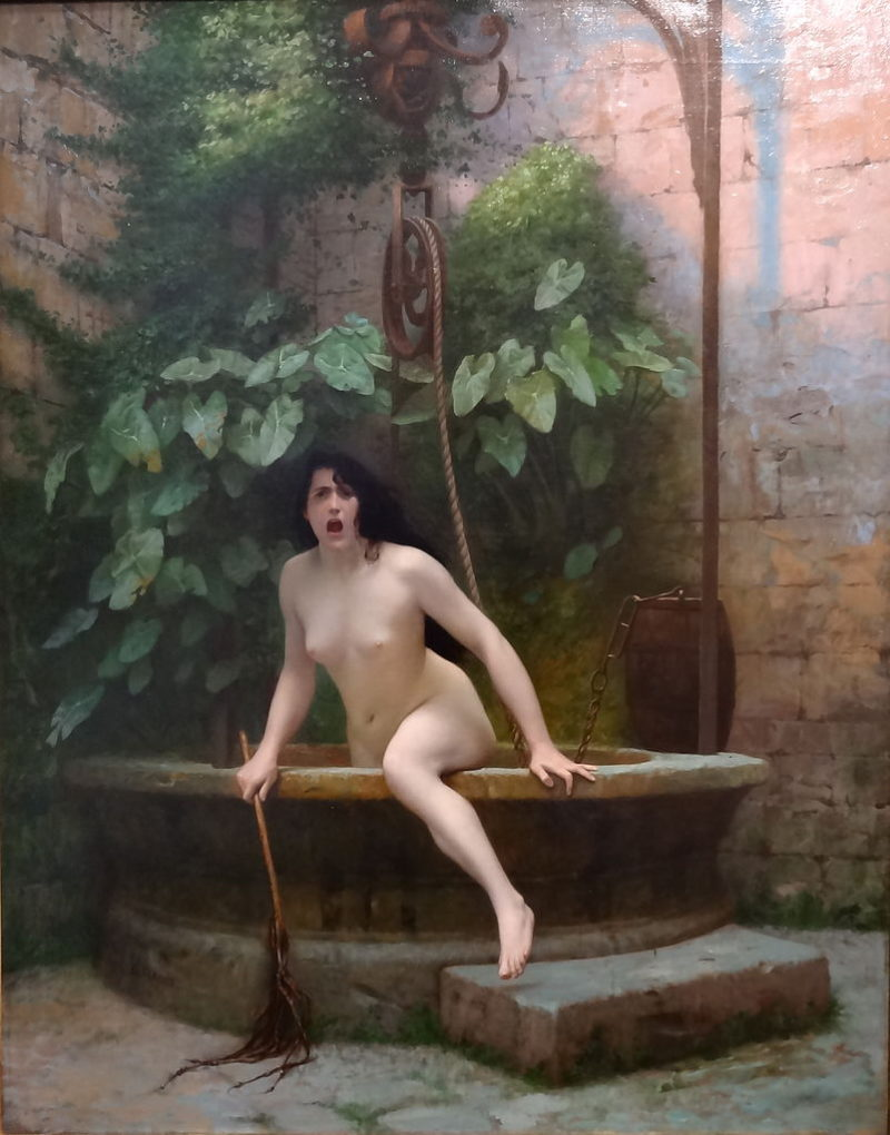 Jean-Léon Gérôme: Pravda, ozbrojená bičem, vystupuje ze studny, aby ztrestala lidstvo (1896). Zdroj: Wikimedia Commons.