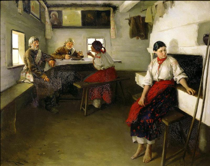 Mykola Pymonenko: Dohazovači (1882). Zdroj: Wikimedia Commons.
