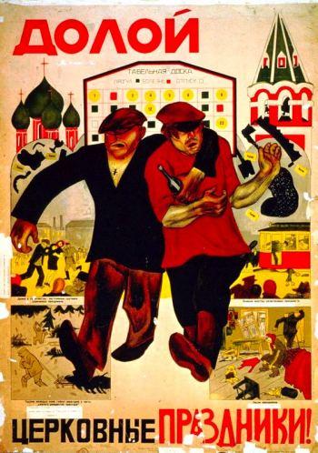 Pryč s církevními svátky! Sovětský propagandistický plakát z roku 1924. Public domain.