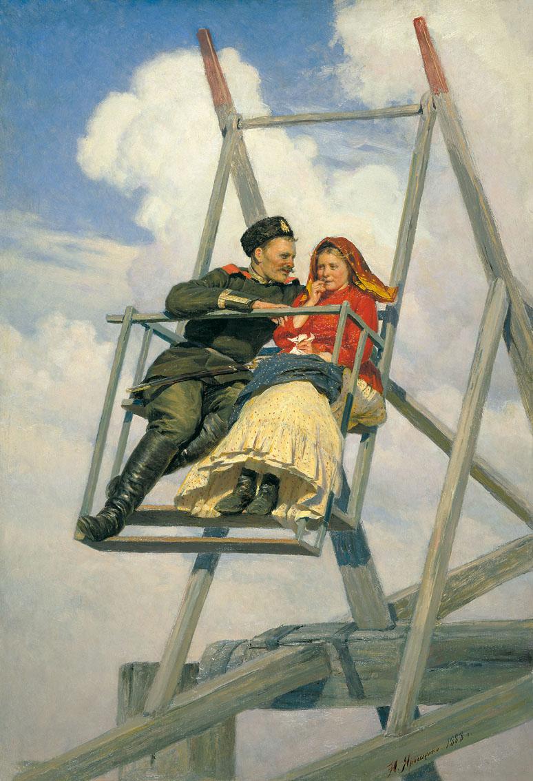 Mykola Jarošenko: Na houpačce (1888). Zdroj: Wikimedia Commons.