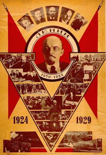 Lenin. Sovětský plakát z roku 1929. Public domain.