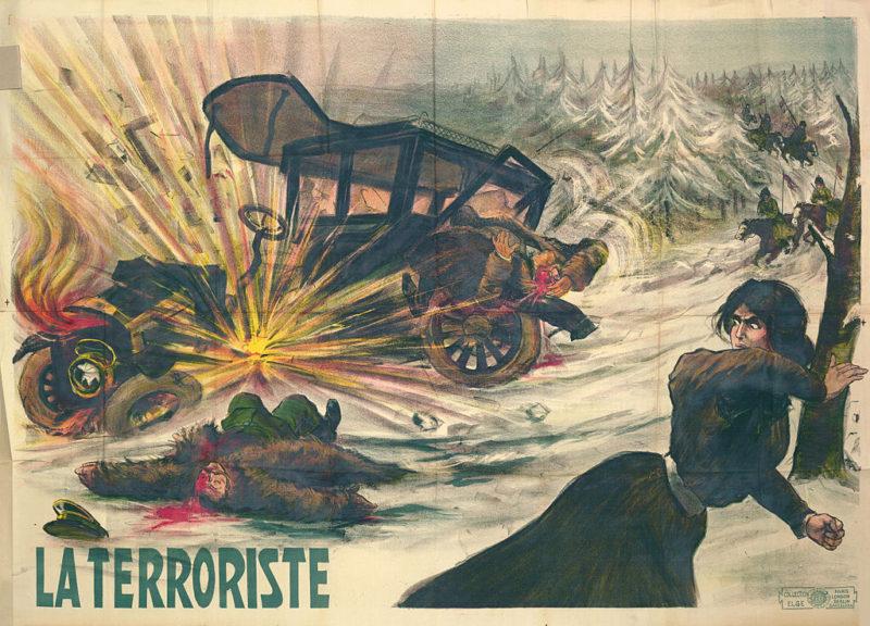 Terorismus, plakát, okolo let 1909-1910. Zdroj: Wikimedia Commons.