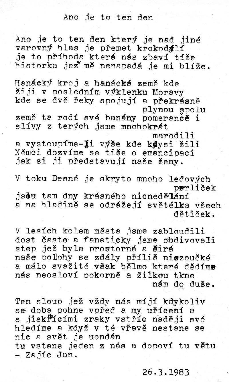 Vladimír Hajný, báseň o Janu Zajícovi